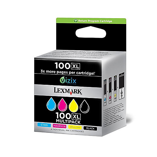 Lexmark 100XL Original Inktcartridge 14N1921E Zwart & 3 Kleuren