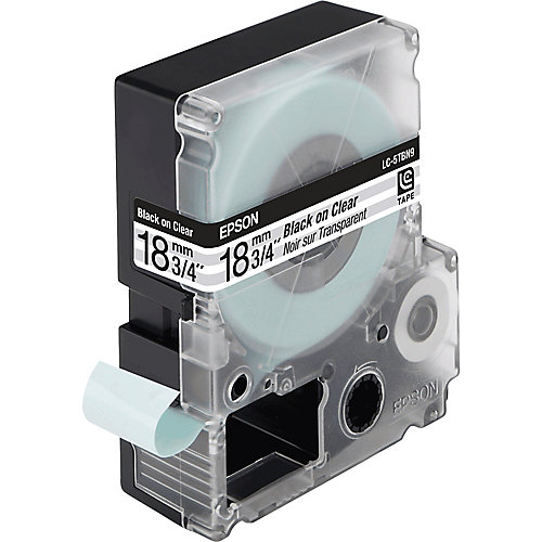 Epson transparante tape breedte 18 mm  zwart/transparant