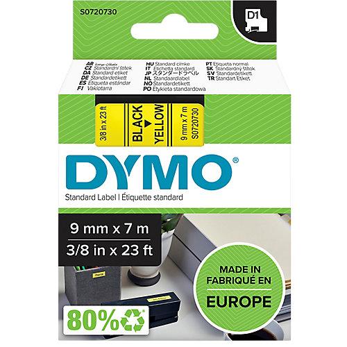 Dymo D1 Tape casette 9 mm x 7 m zwart op geel              40918