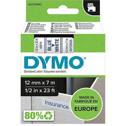 Dymo 45014 Tape Type D1 - 12mm X 7m / Blauw - Wit