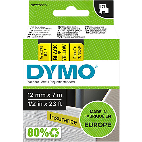 Dymo  45018 Tape Type D1 - 12mm X 7m / Zwart / Geel