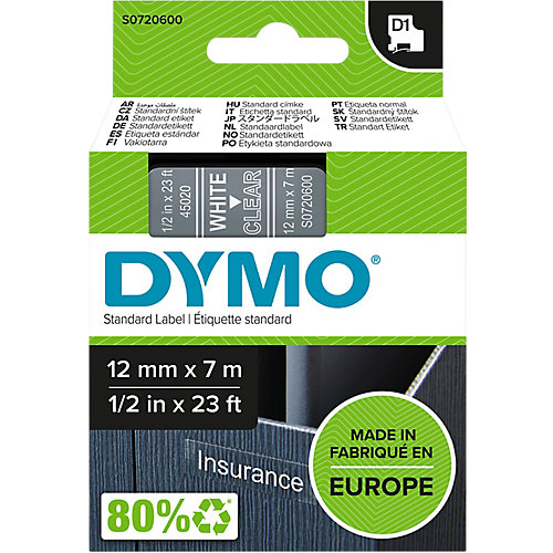 DYMO Labels Wit op Transparant 12 mmx7 m