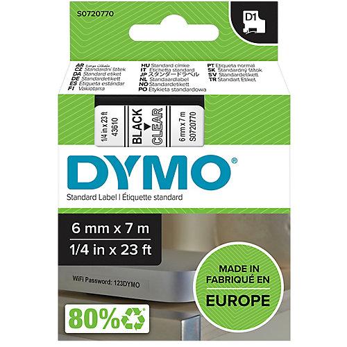 DYMO Labels D1 43610 Zwart op Transparant 6 mmx7 m