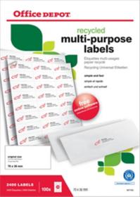 Étiquettes multifonctions recyclées Office Depot Coins droits 2400 étiquettes 100 feuilles de 24 étiquettes Référence : 1671743