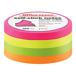 Bloc rond de notes repositionnables - Office DEPOT - diamètre 70 mm - coloris néon