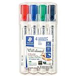4 marqueurs whiteboard dry save ink assortis pointe biseautée staedtler
