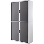 Armoire portes à rideaux h. 204 x l. 110 cm paperflow easyoffice décor couleur anthracite