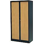 Armoire portes à rideaux h.180 cm rs to go décor bois corps aluminium portes merisier