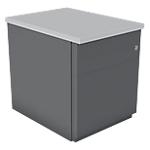 Caisson mobile 2 tiroirs dont 1 pour dossier suspendu avec coffre anthracite et plateau gris l.42 x p.57 x h.52 cm