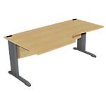 Bureau compact 90° l180 cm gamme optimal evo retour à gauche pieds anthracite plateau hêtre