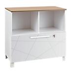 Meuble de rangement bas gautier office gamme sunday tiroir blanc graphique top chêne