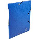 10 Chemises carte lustrée - Exacompta - 3 rabats et élastiques - Bleu nuit