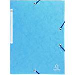 10 Chemises carte lustrée - Exacompta - 3 rabats et élastiques - Bleu turquoise