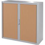 Armoire portes à rideaux h. 104 x l. 110 cm paperflow easyoffice décor bois hêtre gris