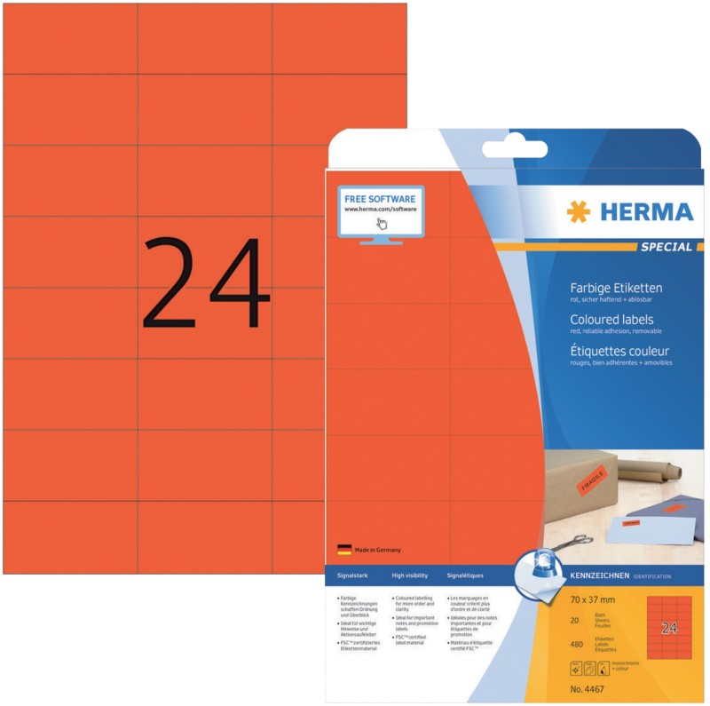 HERMA Etiketten Rot 480 Stück Pack 480