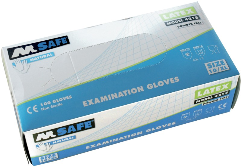 M-Safe Handschuhe Ungepudert Latex Größe Large Transparent Pack 100