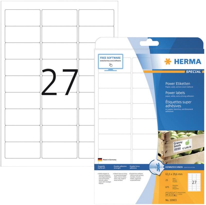 HERMA Etiketten Power Weiß 675 Stück Pack 675