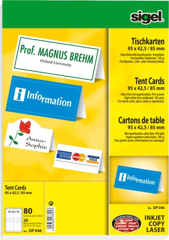 Sigel Tischkarten /DP046 95 x 42/85 mm hochweiß...