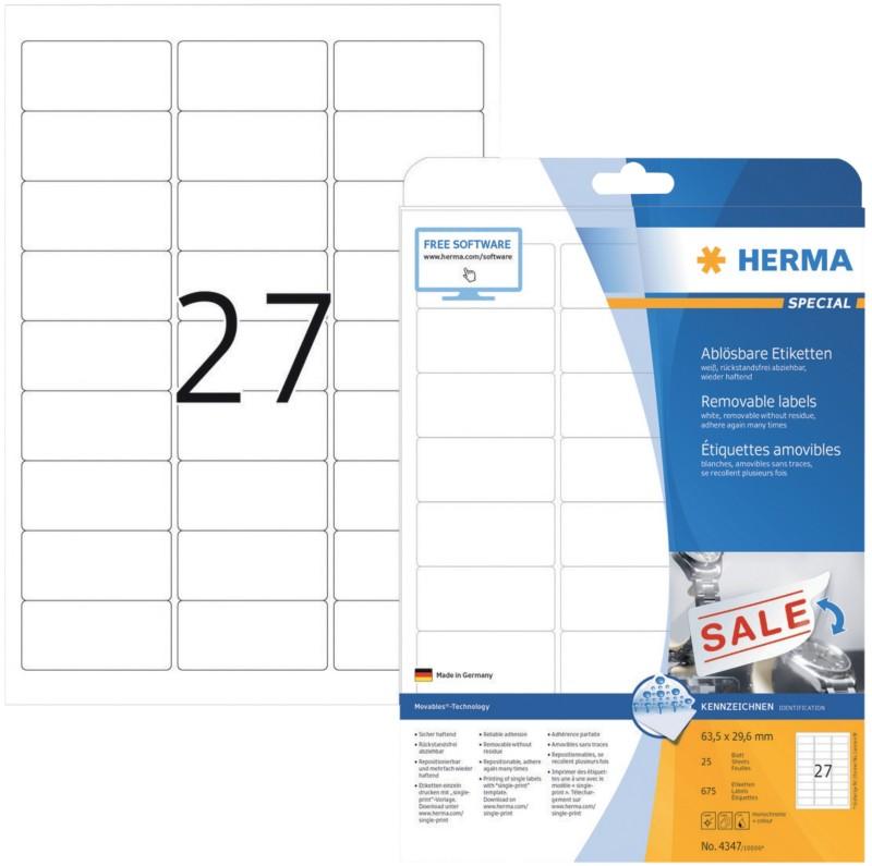 HERMA Wiederablösbare Etiketten Movables Weiß 675 Stück Pack 675