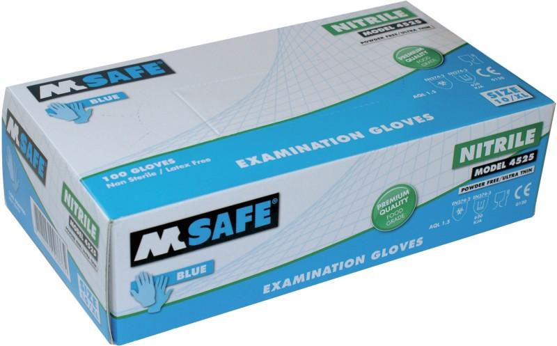 M-Safe Handschuhe Ungepudert Nitril Größe Medium Blau Pack 100