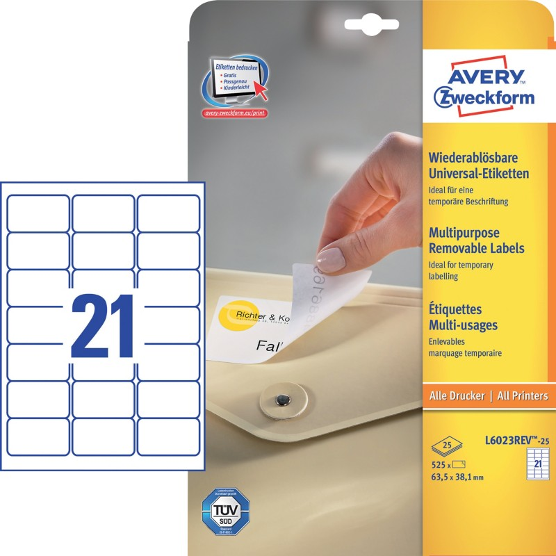 AVERY Zweckform Ablösbare Etiketten L6023REV-25...