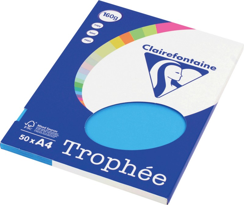 Clairefontaine 4161C Farbpapier DIN A4 160 g/m² Karibik-Blau 50 Blatt