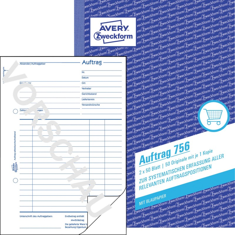 Avery Auftrag 756 DIN A5 2 x 50 Blatt