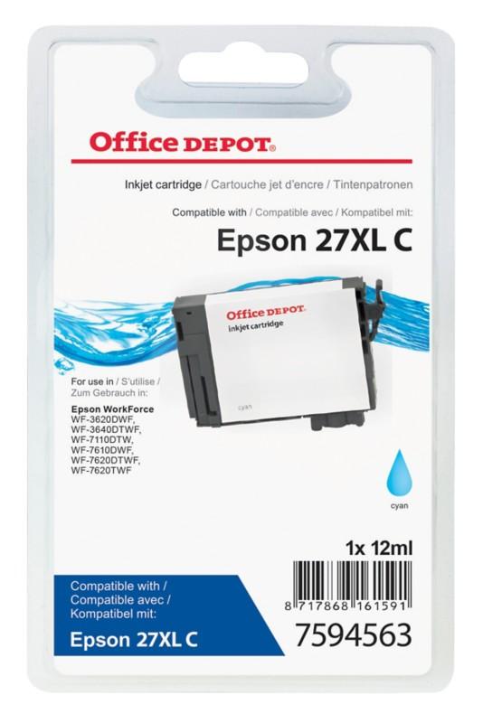 Vorschaubild von Office Depot Kompatibel Epson 27XL Tintenpatrone T271240 Cyan