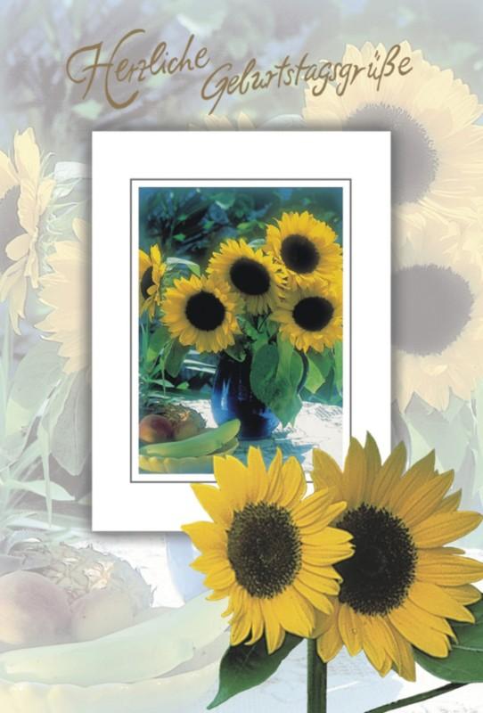 bsb-obpacher Geburtstagskarte Sonnenblumen Gelb...
