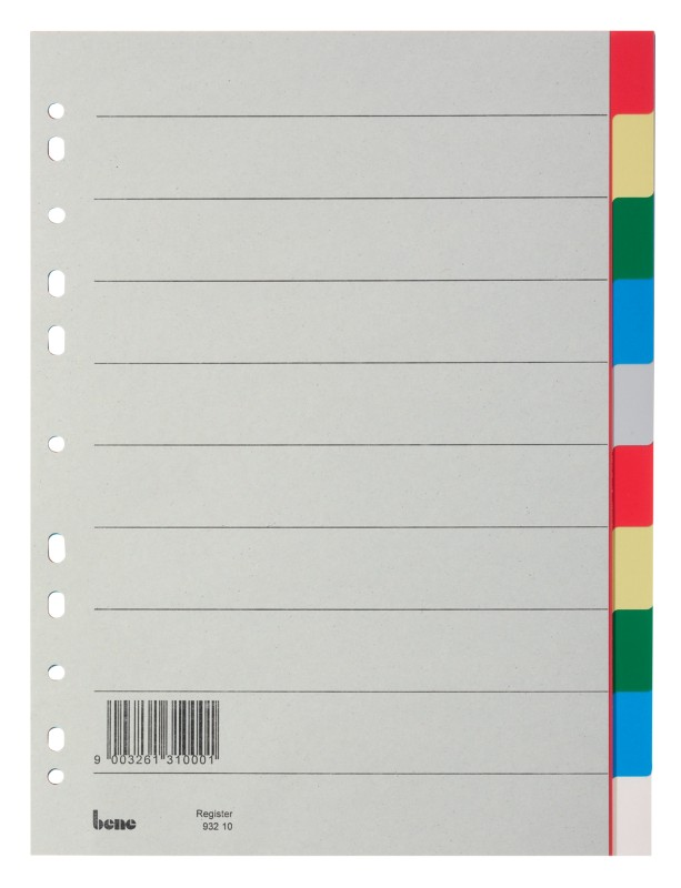 grau 12-teilig bene Zahlen Register 1-12 Polypropylen 120 my Vollformat DIN A4