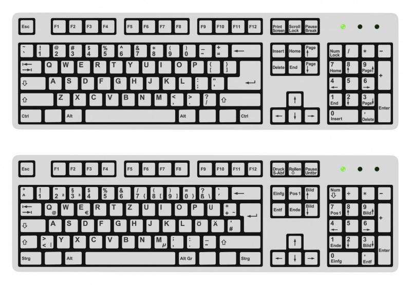 Tastaturen mit unterschiedlichem Buchstaben-Layout