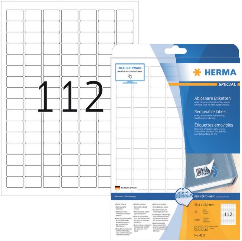 HERMA Wiederablösbare Etiketten Movables Weiß 2800 Stück Pack 2800