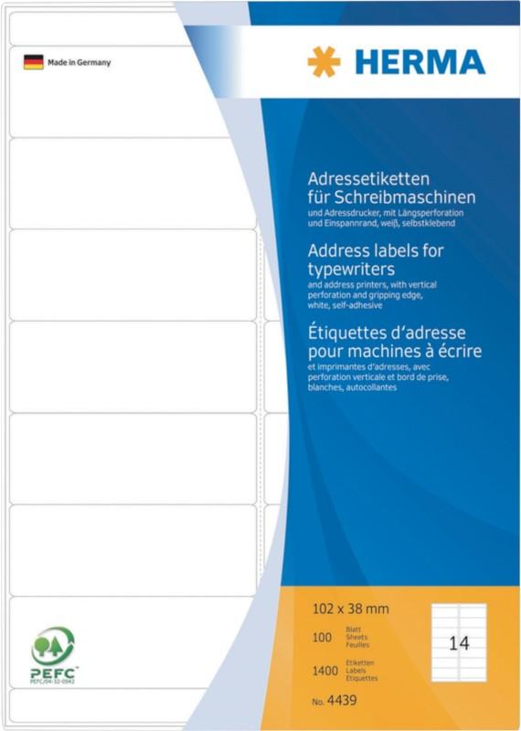 HERMA Multifunktionsetiketten Weiß 1400 Stück Pack 1400