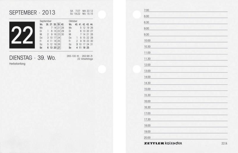Zettler Umlegekalender-Ersatzblock 2016 336