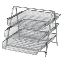 Office Depot Executive Mesh 3 Tier Letter Tray  Silver