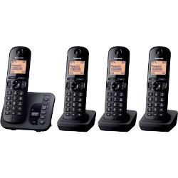 Panasonic KXTGC220EB digital cordless phone with answering machine ? quad