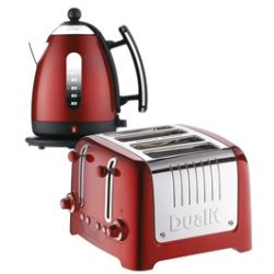 Dualit metallic red kettle and 4slot toaster set