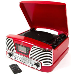 Protelx Memphis 4in1 turntable with CD player and FM radio ? red