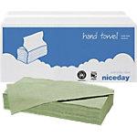 Niceday Papieren handdoeken Standard 1 laags V vouw Groen 20 Stuks à 250 Vellen