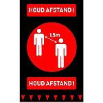 Deurmat Houd afstand Zwart, rood 900 x 1500