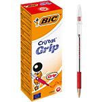 BIC Cristal® Grip Balpen Rood met dop 20 Stuks