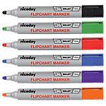 Niceday Flipchartmarker Kogel Zwart, blauw, groen , oranje, paars, zwart 6 Stuks