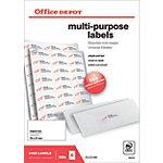 Office Depot Rechte hoeken Multifunctionele etiketten Wit 2400 stuks