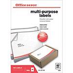 Office Depot Rechte hoeken Multifunctionele etiketten Wit 100 stuks