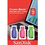 SanDisk USB 2.0 USB stick Cruzer Blade 16 GB Blauw, groen, roze 3 stuks