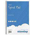 Niceday Spiraalblok Blauw, wit Gelinieerd A4 60 g