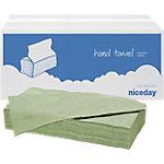 Niceday Papieren handdoeken 1 laags V vouw Groen 20 Stuks à 250 Vellen