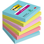 Post it Super Sticky Notes 76 x 76 mm Lichtblauw, lichtgroen, roze, rood 6 Stuks à 90 Vellen