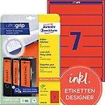 AVERY Zweckform Ordnerrugetiketten Ultragrip L4762 20 Rood A4 192 x 38 mm 20 Vellen à 7 Etiketten