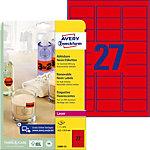 AVERY Zweckform Gekleurde etiketten L6003 25 Neon rood 63,5 x 29,6 mm 27 Vellen à 25 Etiketten